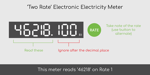 How to read two rate electronic electricity meter